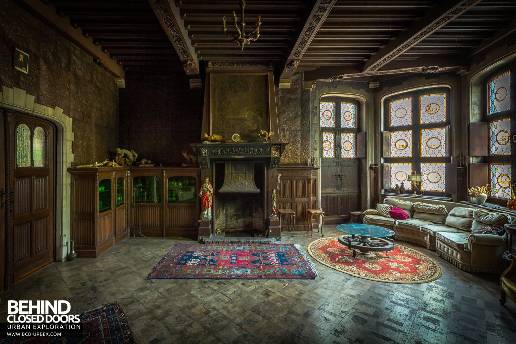 Town Mansion, Belgium - Huge fireplace and stained glass windows