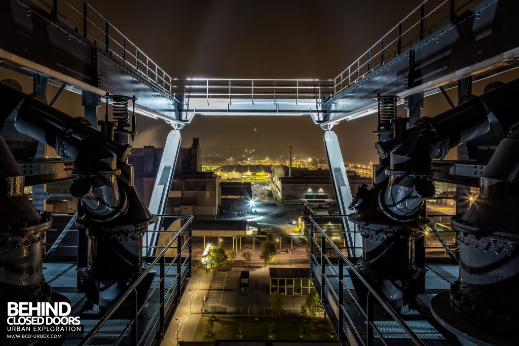 Belval Blast Furnaces - Illuminated walkways and machinery