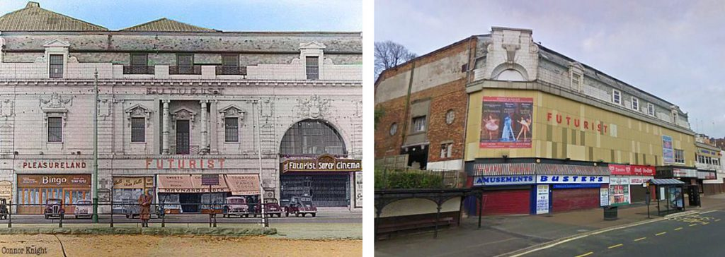 External views of the Futurist-theatre - Then and now