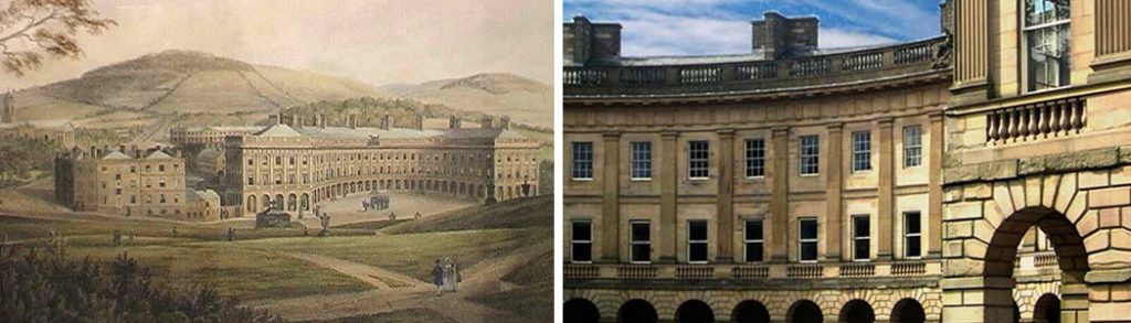 Watercolour painting of Buxton Crescent attributed to W. Cowen, c. 1850 and a recent photo showing the buildings detail