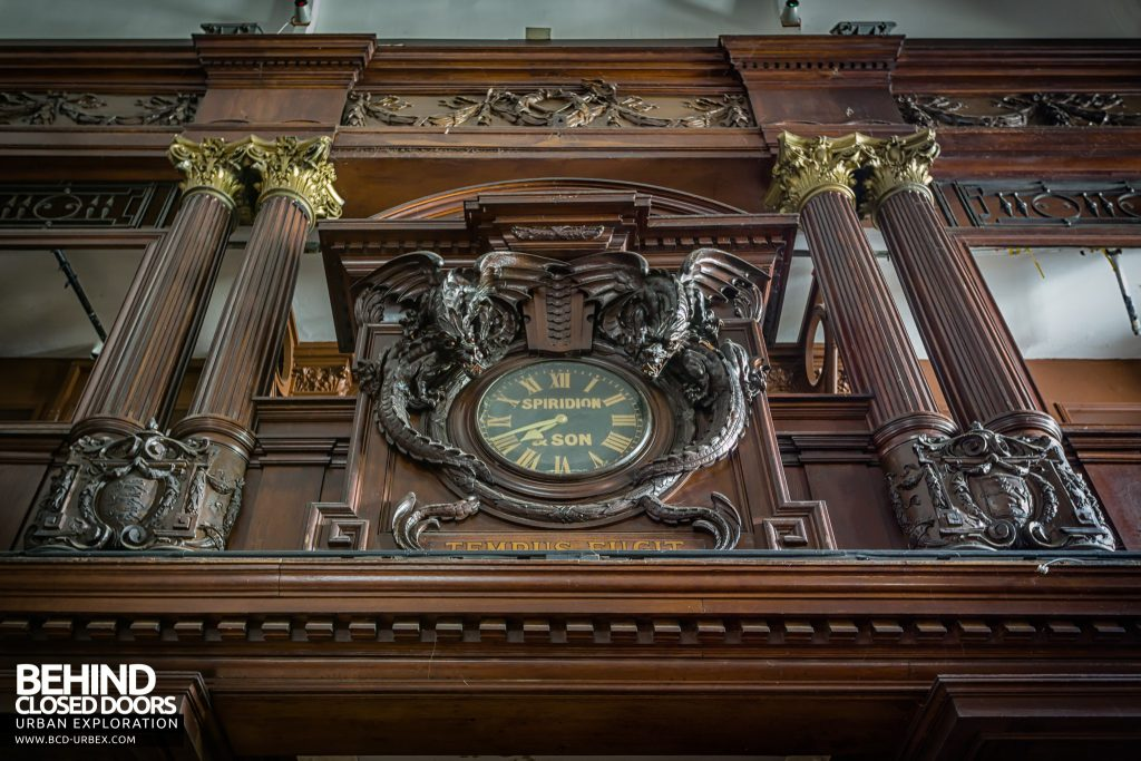 "Coal Exchange, Cardiff - The wording under the clock reads empus Fugit, meaning ""Time flies"""