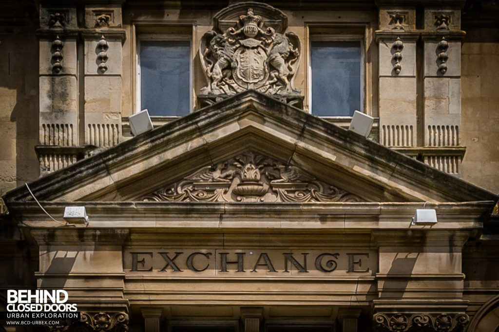 "Coal Exchange, Cardiff - External building detail, ""Exchange"" above the main entrance"