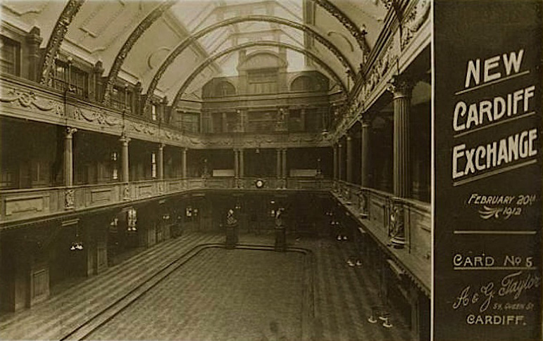 Coal Exchange, Cardiff - Originally the roof was a huge arch with skylights to flood the hall with light. Not the position of the lions in the main hall too.