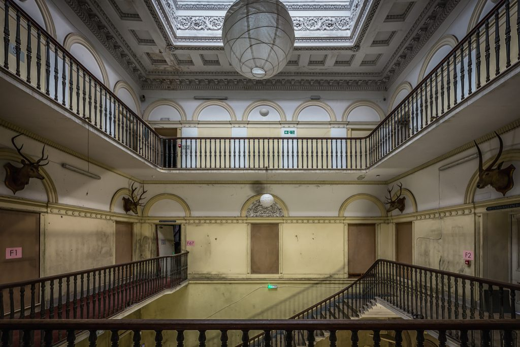 Tottenham House, Severnake - The grand staircase with deer heads on the walls