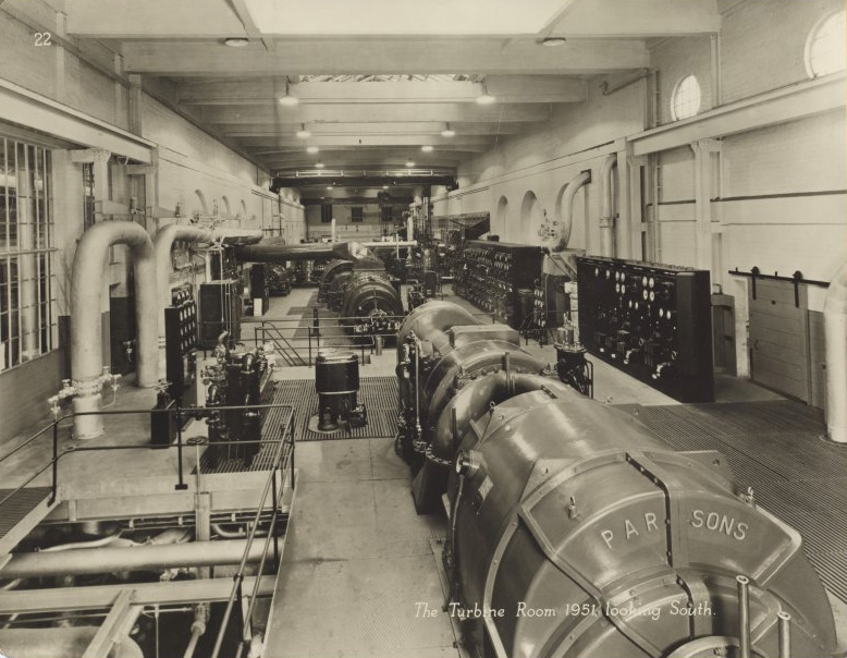 Markinch Power Station - Turbine hall in 1951 after the new Parsons sets had been installed​