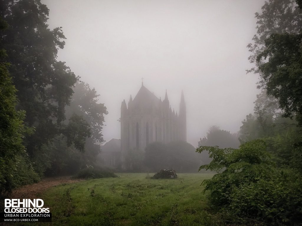 Chapelle des Pelotes, France - The chapel in the fog