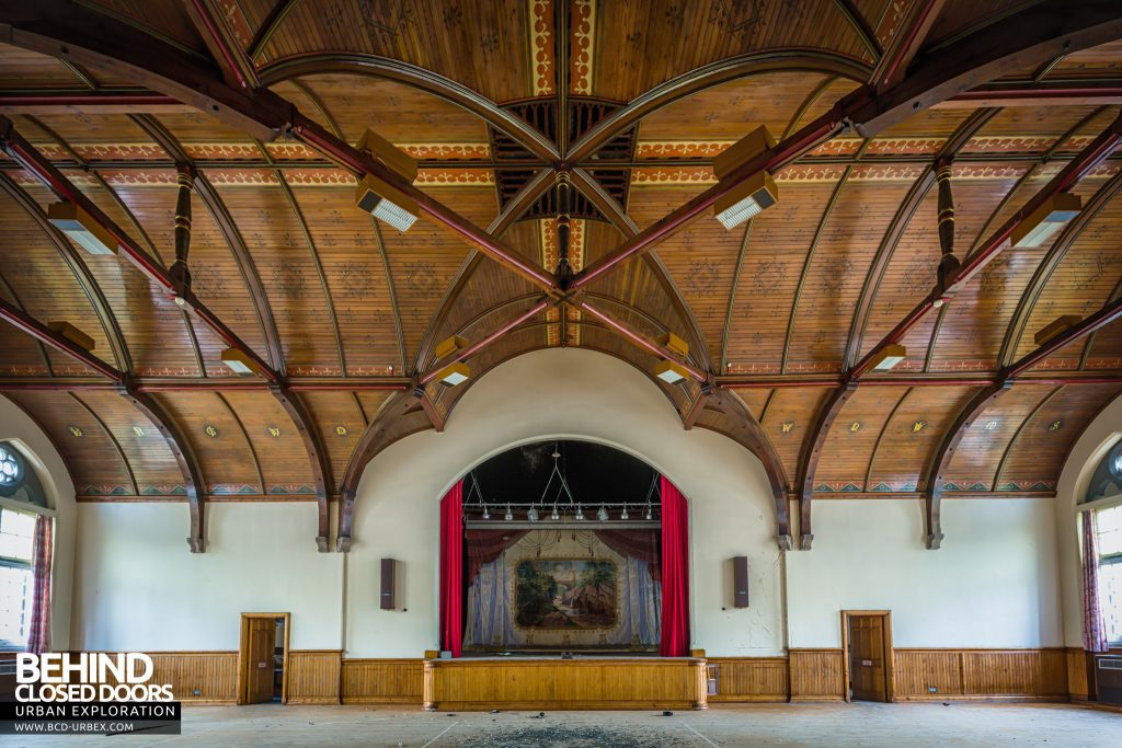 Sunnyside Asylum, Montrose - The grand hall with stage at one side
