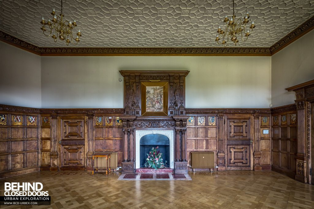 Quorn House - Another grand fireplace in a wood panelled room