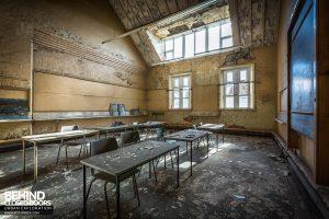 St John School - Blackboard and desks