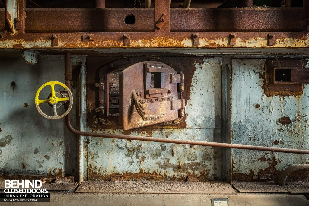 Spondon H Boiler House - Boiler door with International Combustion wording