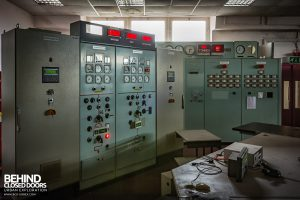 Spondon H Control Room - Control panels still lit up