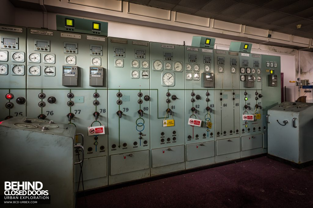 Spondon H Control Room - Some of the control panels still had lights on and warnings they were live