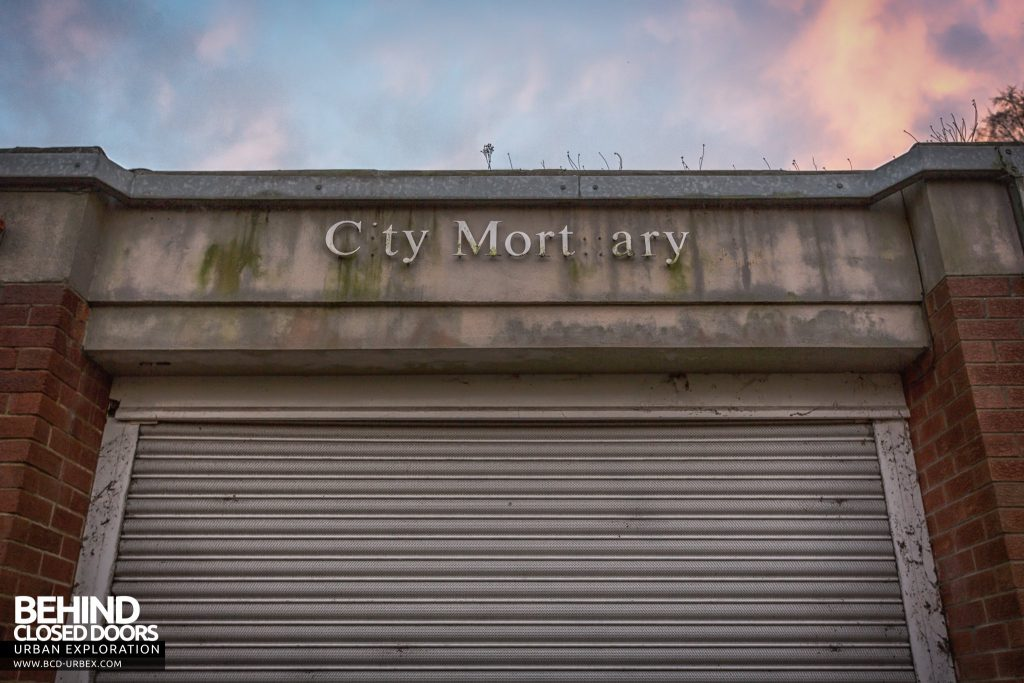 Forster Green Mortuary, Belfast - City Mortuary sign on front of building