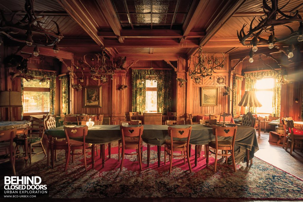 The Hunters Hotel, Germany - The grand carved wood clad dining hall