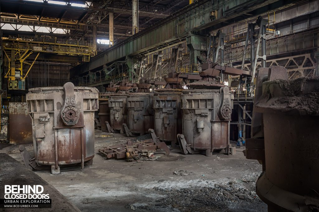 Florange Steelworks, France - Ladles lined up in the ladle bay