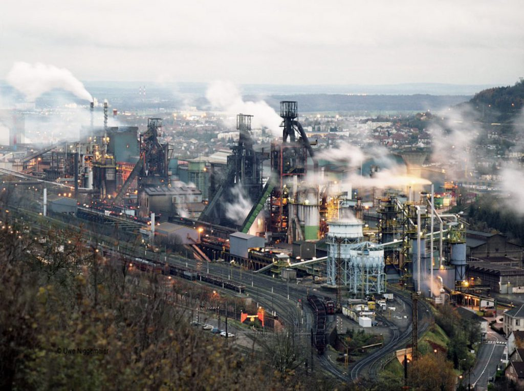 The blast furnaces and steelworks while they were in use
