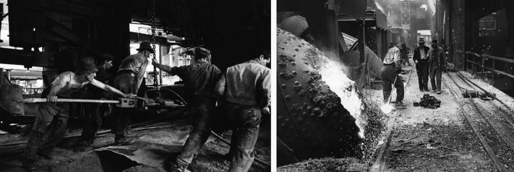Workers at the blast furnaces, pictured in 1952