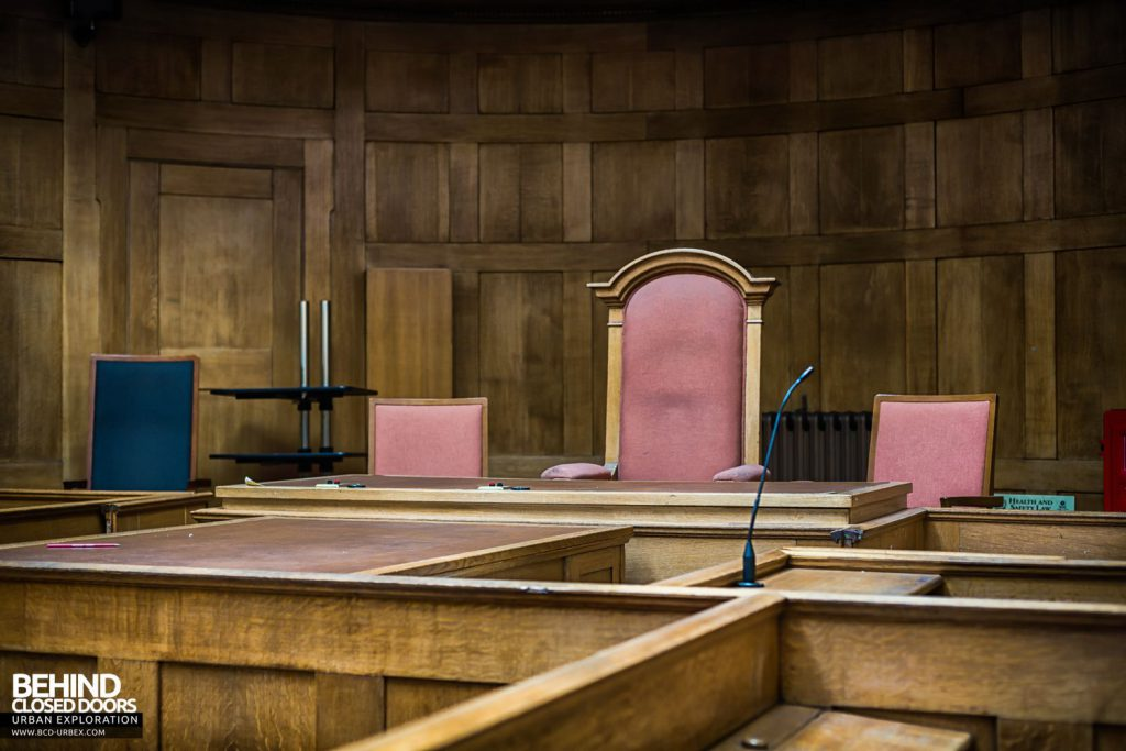 Greenwich Magistrates Court - The bench and magistrates seats