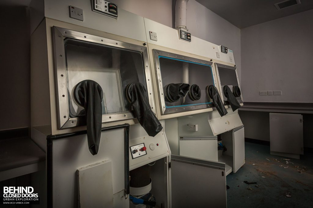 North Staffordshire Royal Infirmary - Fume cupboard with gloves in the Pathology Labs