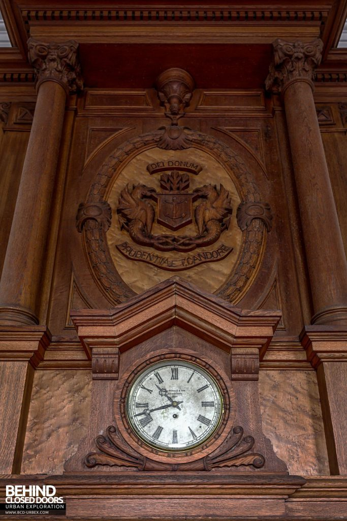 "Harbour Chambers, Dundee - Crest of the Dundee Port Authority carved into the fireplace The clock says ""Ritchie & Sons, Edinburgh. 1884"""