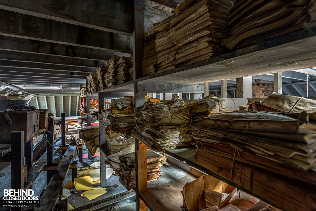 Harbour Chambers, Dundee - Shelves of paperwork in the attic
