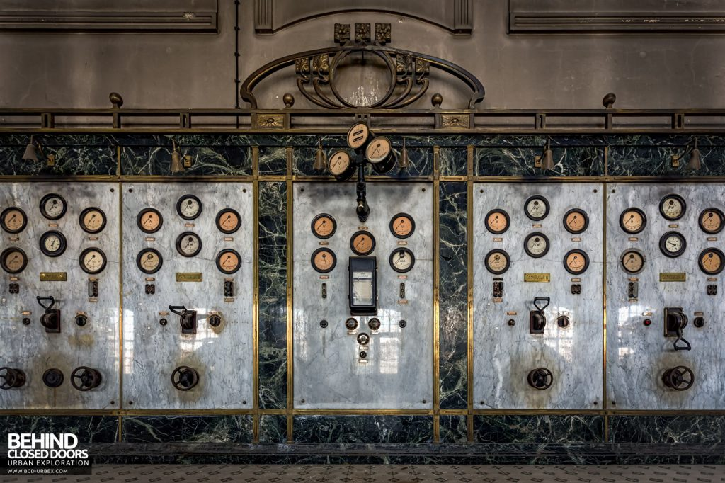 Diesel Centrale, Austria - The marble and brass control panel
