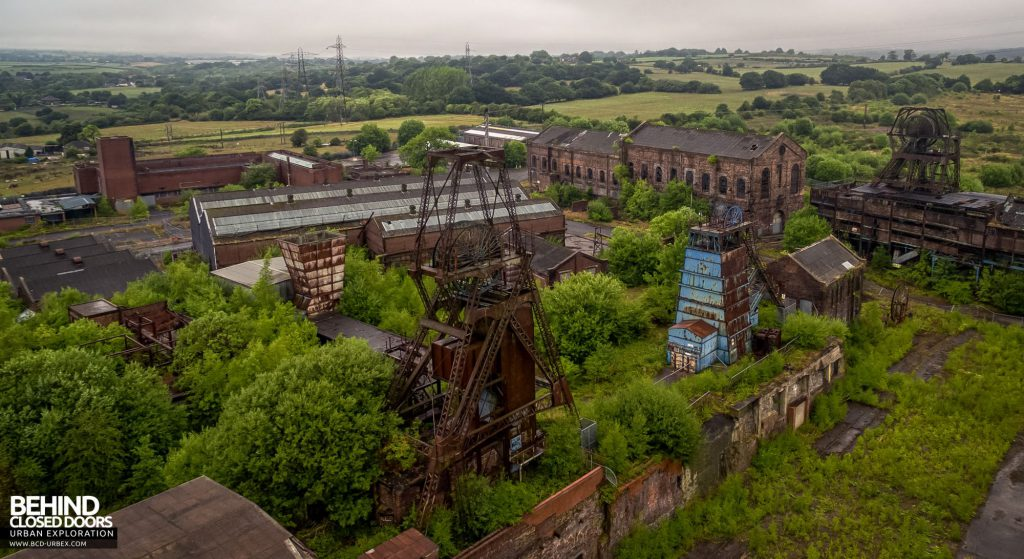 Chatterley Whitfield Colliery - Aerial view of the site including three headstocks