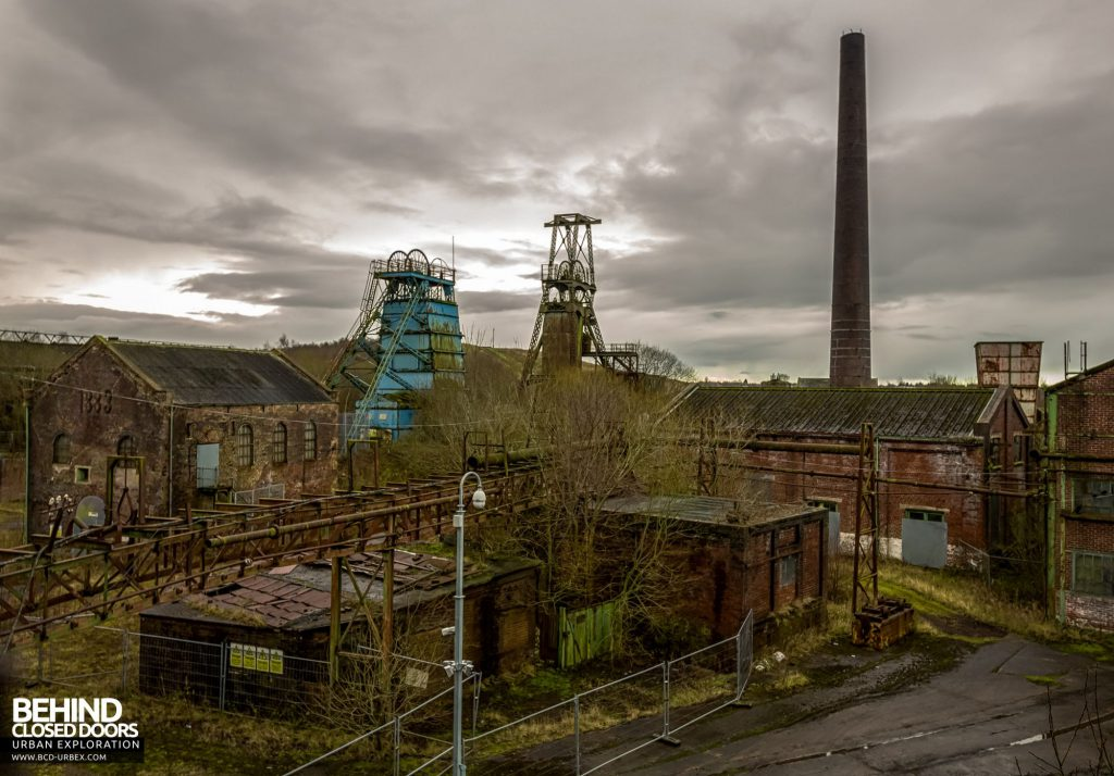 Chatterley Whitfield Colliery - Platt and Institute headstocks, along with the main boiler house chimney