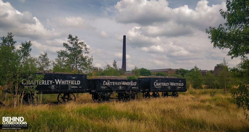 Chatterley Whitfield Wagons with the colliery behind