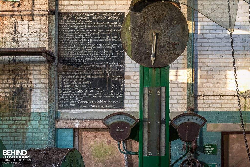 "Institute Winding House - ""Code of Shaft Signals"" signage dated 1967​"