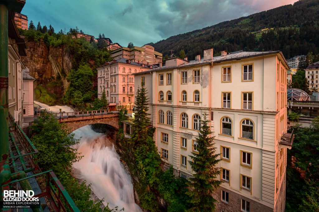 The Gastein waterfall next to the Straubinger Hotel