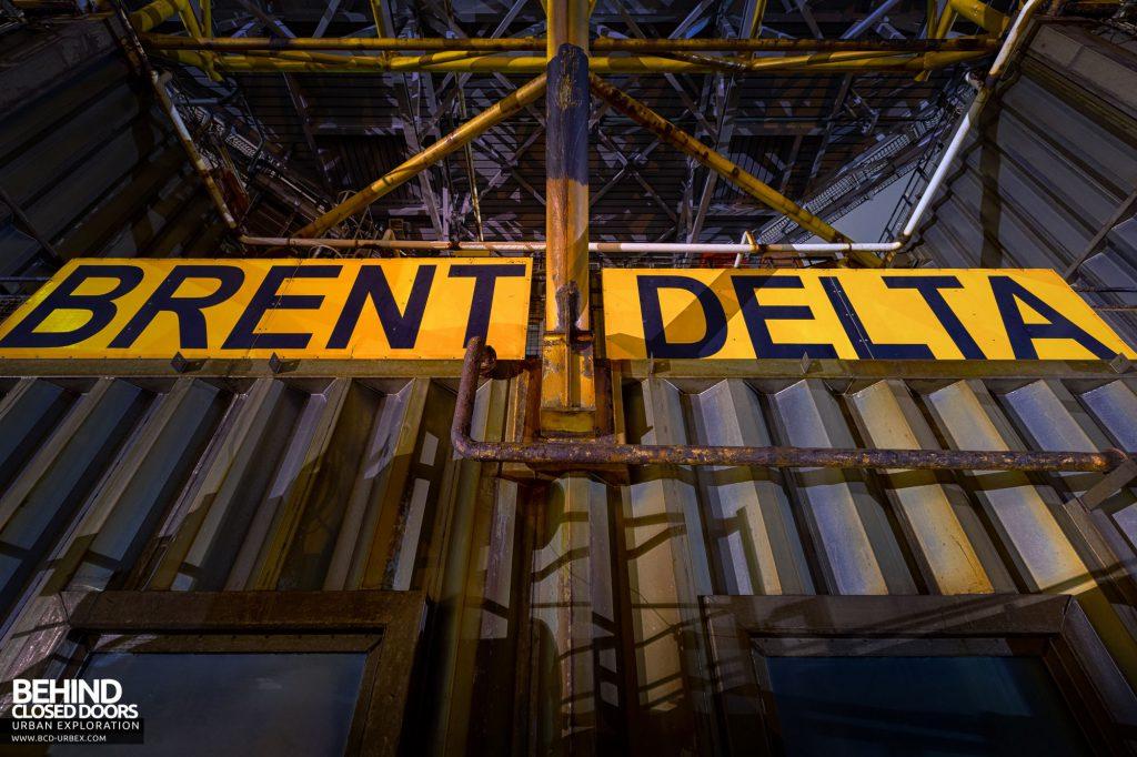 Brent Delta - sign on the side of the platform
