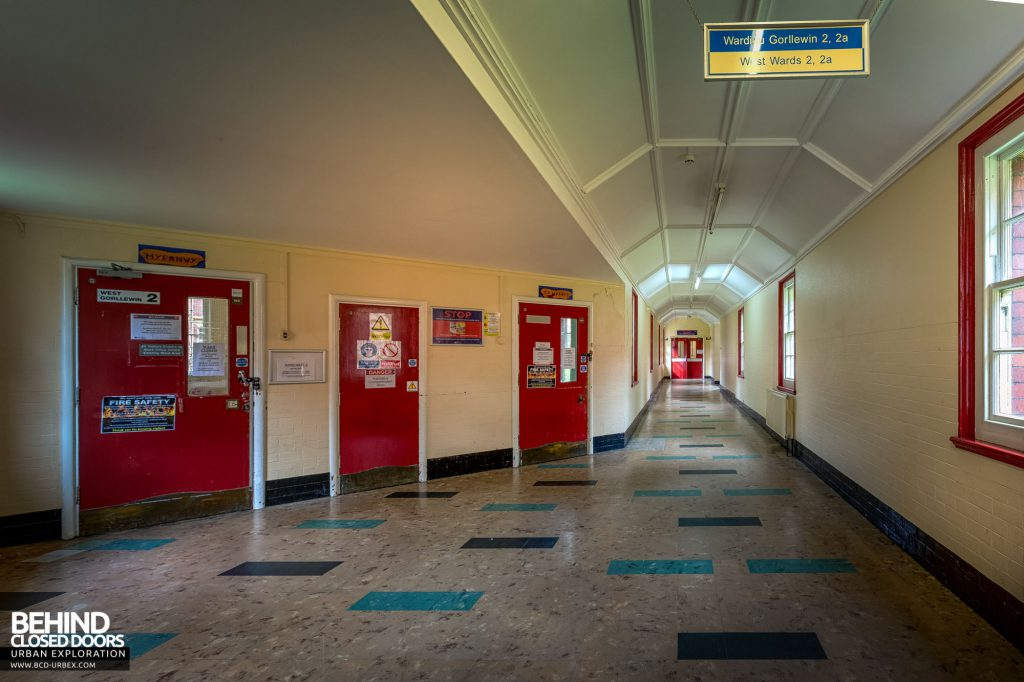 Whitchurch Hospital - A section of the main corridor with entrances to West 2 ward