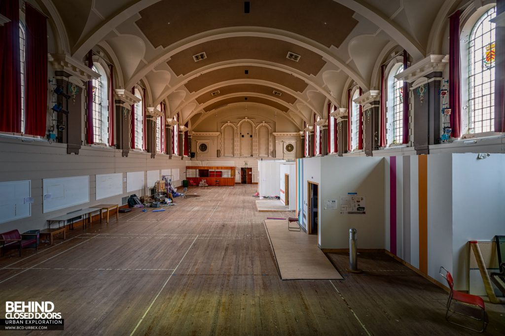 Whitchurch Hospital - View down the recreation hall