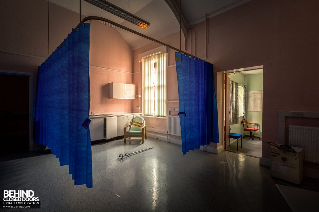 Curtain and Crutches at Whitchurch Hospital