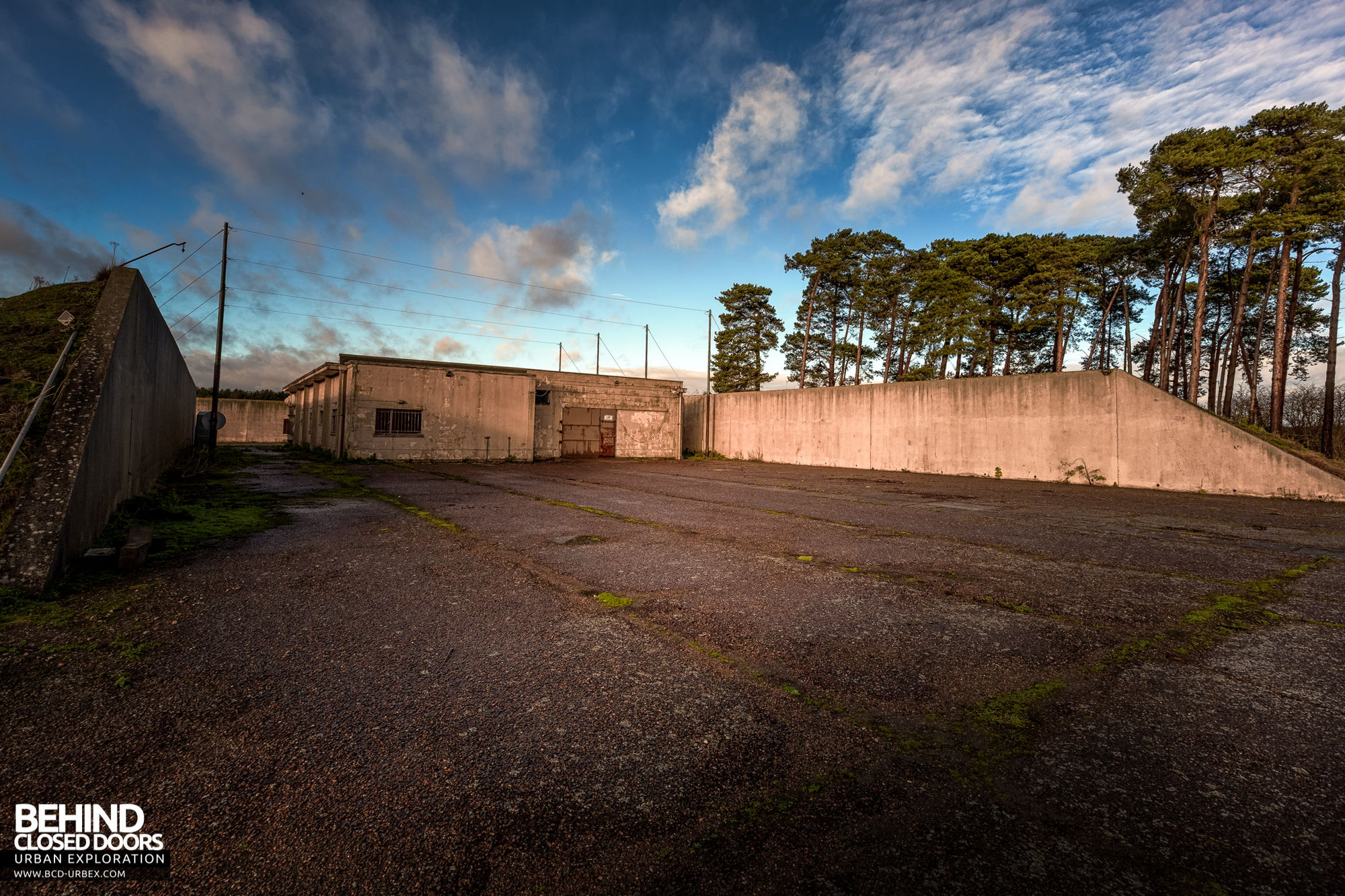 RAF Bentwaters - One of the storage facilities with overhead cables