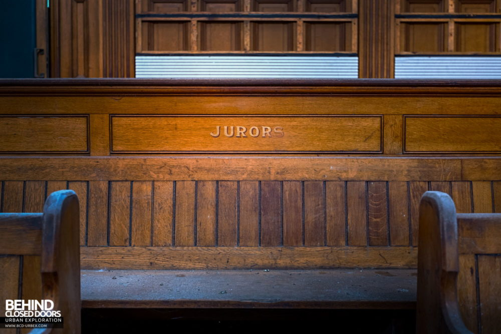 Nottingham Guildhall - Wording detail on jurors bench