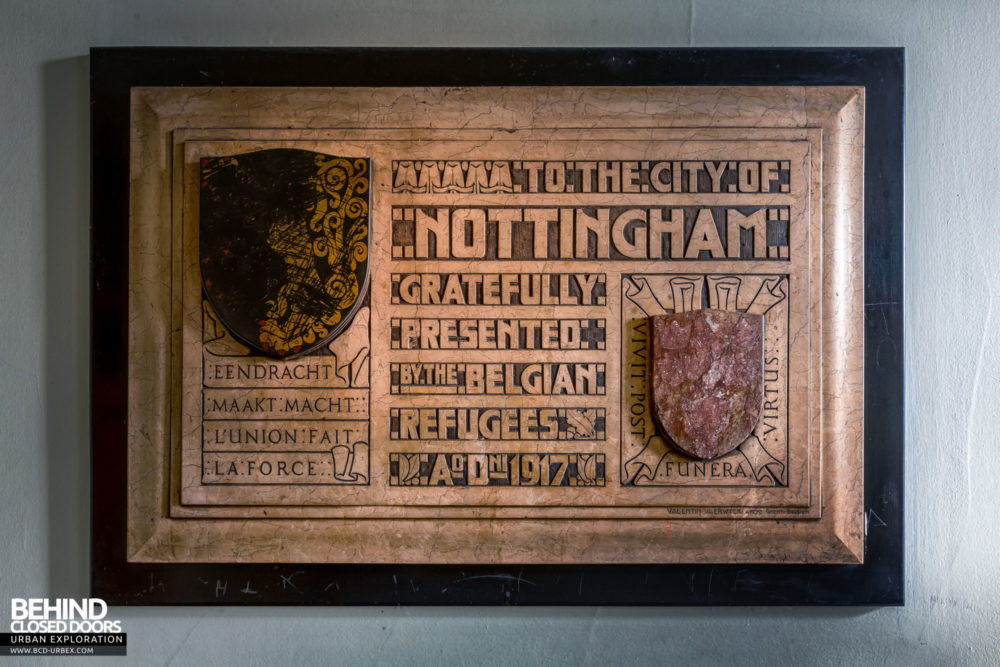 Nottingham Guildhall - Belgian Refugee's plaque