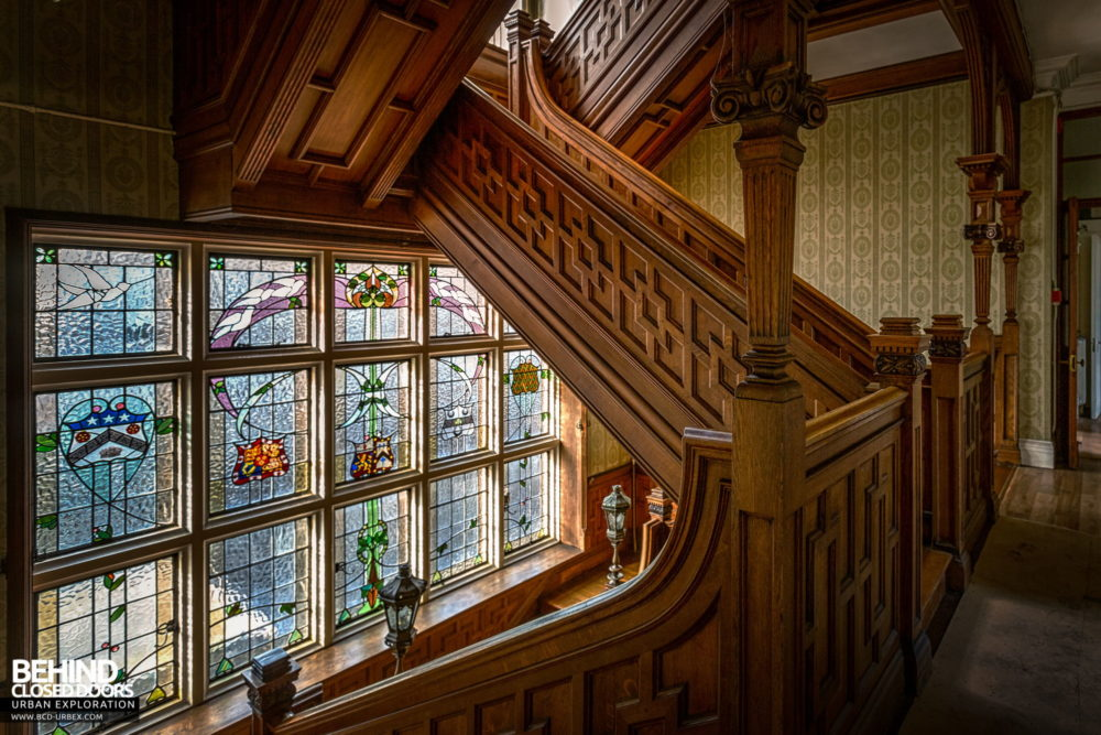 Glenmaroon House, Dublin - Stained glass window behind the staircase