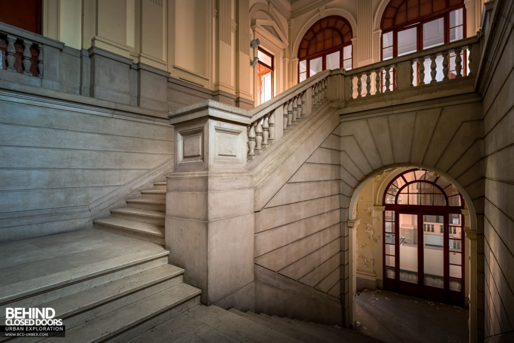 Tuberculosis Sanatorium / Hospital, Italy - Staircase in the admin block