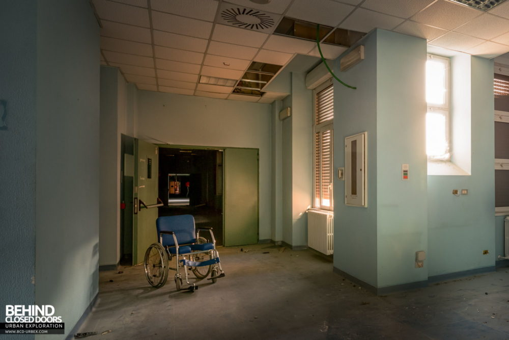 Tuberculosis Sanatorium / Hospital, Italy - Wheelchair in a corridor