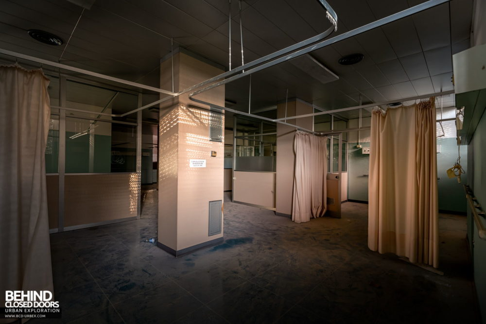 Tuberculosis Sanatorium / Hospital, Italy - Curtains hanging in a ward