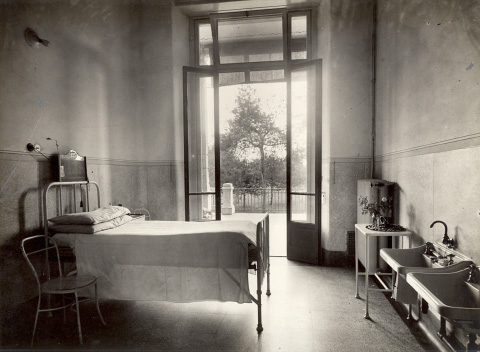 Tuberculosis Sanatorium / Hospital, Italy - Archive image of one of the hospital rooms