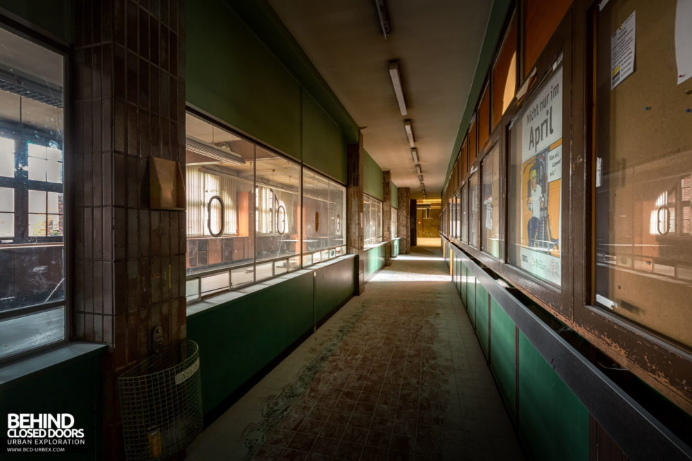 Zeche HR - Corridor with windows where wages would be collected