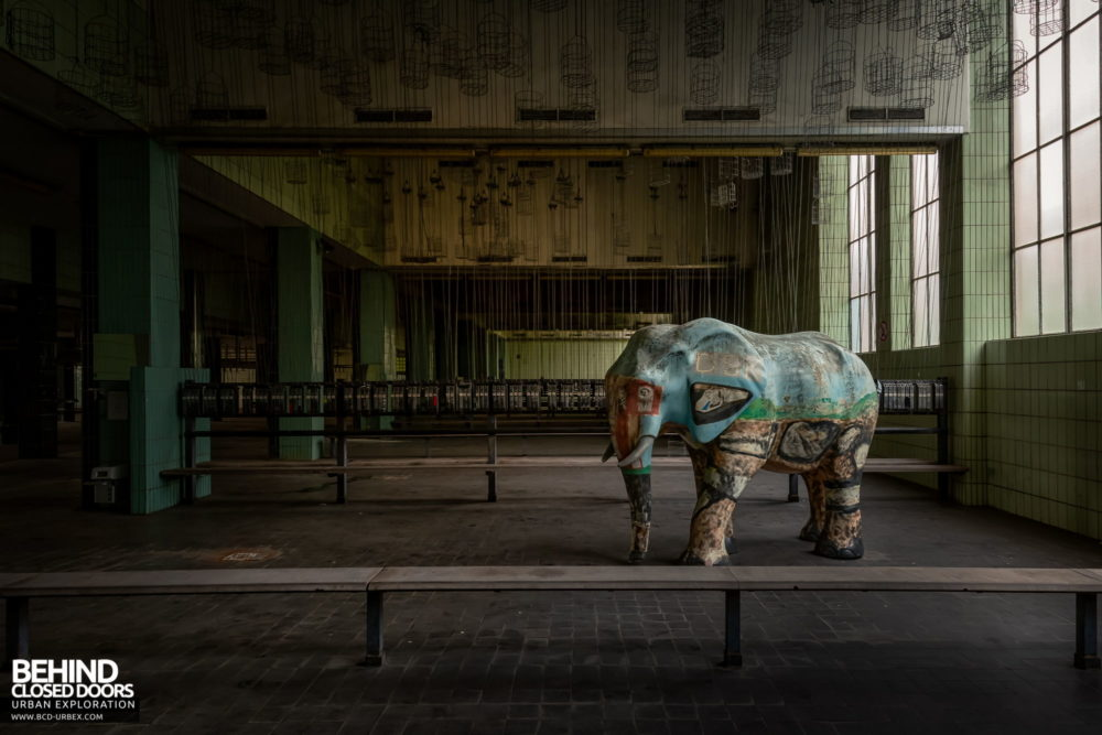 Zeche HR - An interestingly painted elephant was stood in a basket room