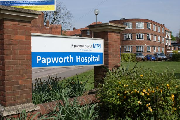 Royal Papworth Hospital - Entrance sign and the 1932 Bernhard Baron Building
