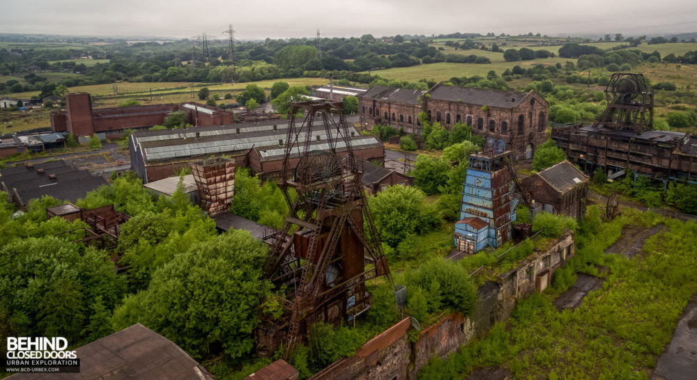 A view across Chatterley Whitfield with Institute and Platt headstocks in the foreground