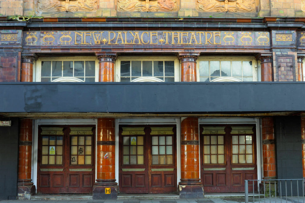 New Palace Theatre, Plymouth - Front doors and tiled lettering detail