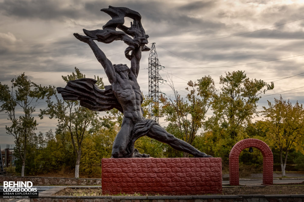The statue of Prometheus situated in front of the Chernobyl Power Plant