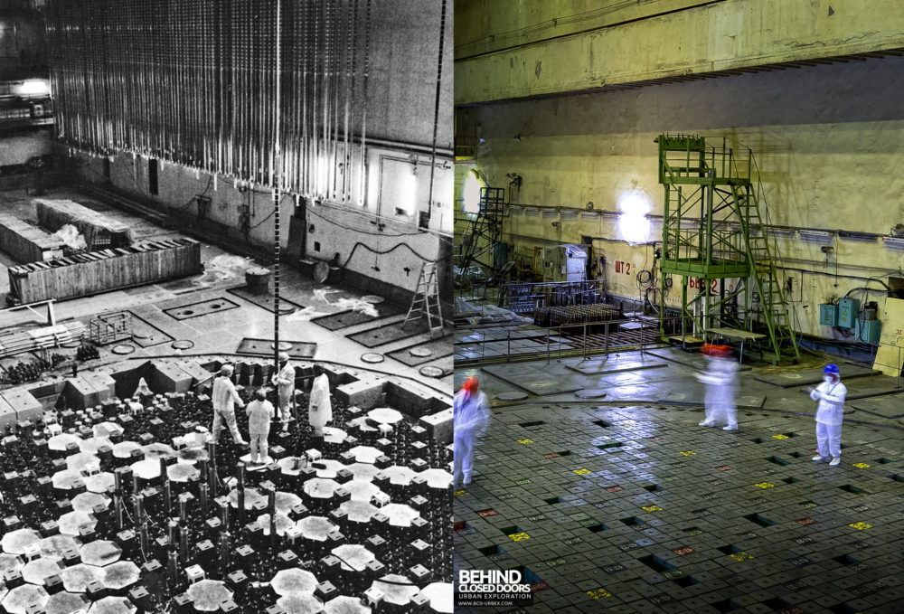And to finish off, a shot inside one of reactor halls, as it was being commissioned, and how it looks now